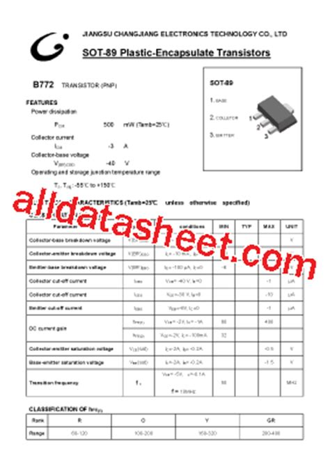 transistor b772 sot89 b772 sot 89 datasheet pdf jiangsu changjiang electronics technology co ltd