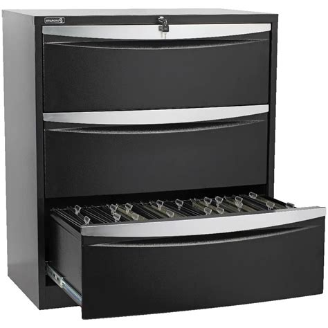 Stilford 3 Drawer Lateral Filing Cabinet Black Ebay 3 Drawer Lateral Filing Cabinet