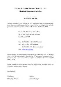 Lease Removal Letter 30 Day Notice Vacate Letter