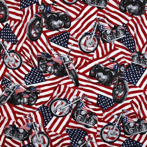 Harley Davidson Fabric by Timeless Treasures Patriotic American Flags And Harley