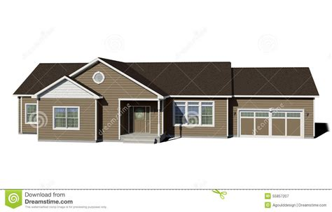 Brown Siding White Trim - ranch house clay stock image image of porch