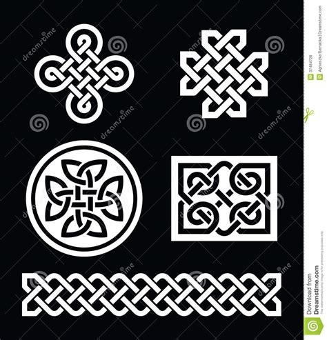 celtic knots patterns on black background vector royalty