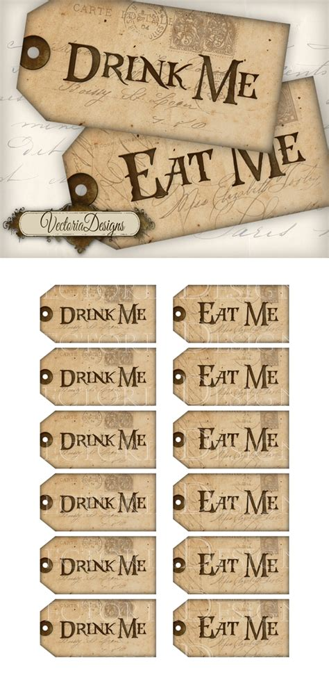 printable drink tags 8 best images of eat me tags printable mad hatter tea