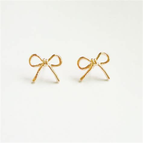 the bow gold stud earrings gift 15 on luulla