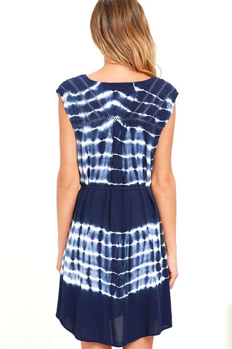 Dress Aliza Navy black swan alisa navy blue dress tie dye dress 83 00