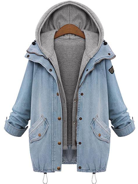 Hooded Coat plus size denim drawstring twinset hooded jacket