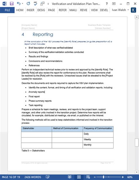 validation plan template verification and validation plan ms word template