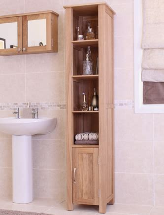 Mobel Oak Tall Narrow Bathroom Shelving Unit Duck Barn Interiors