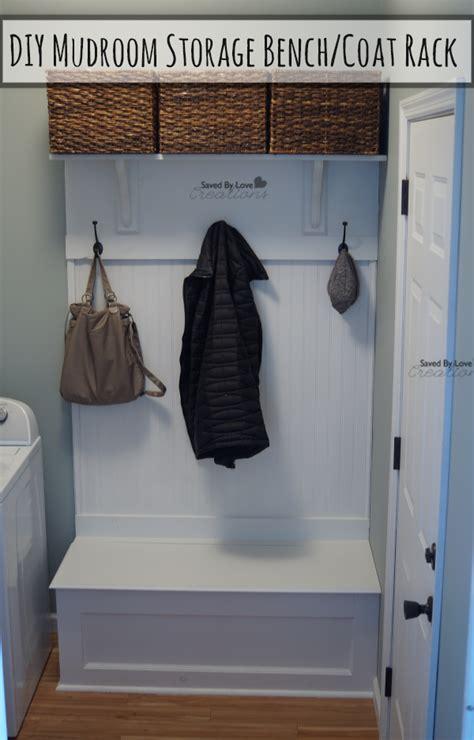 diy mudroom storage bench  coat rack
