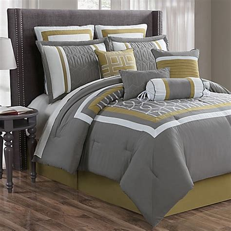 Charcoal Bedding Sets Morris 10 Comforter Set In Charcoal Yellow Bed Bath Beyond