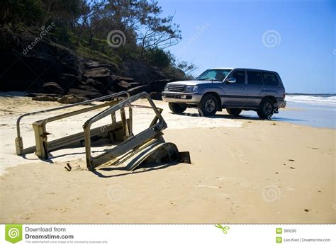 truck island 4wd and buried truck fraser island stock photo