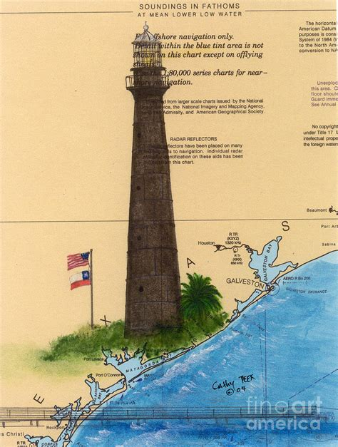texas lighthouses map point bolivar lighthouse tx chart map cathy peek painting by cathy peek