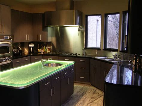 Glass Top Kitchen Island Glass Countertop Island With Led Lighting Designed By Cgd Glass Countertops