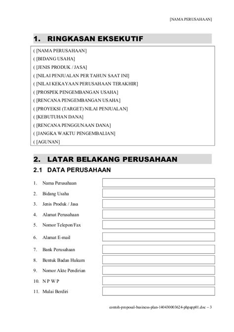 format bisnis plan bank mandiri contoh proposal doc gambar con