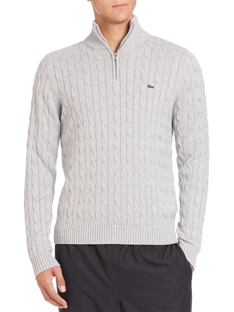 cotton cable knit sweater lacoste cotton cable knit sweater in gray for lyst