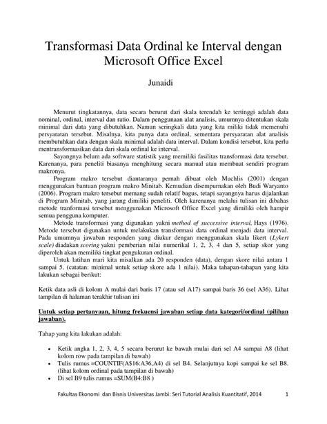 (PDF) Transformasi Data Ordinal ke Interval dengan