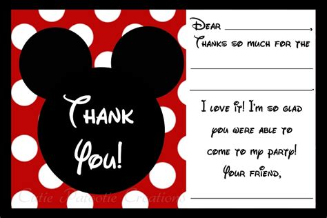 free mickey mouse thank you card template mickey mouse thank you cards printable digital