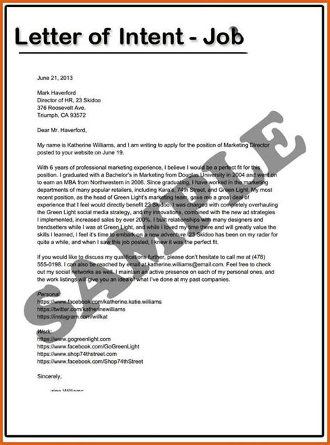 letter of intent draft template letter of intent for a apa exles
