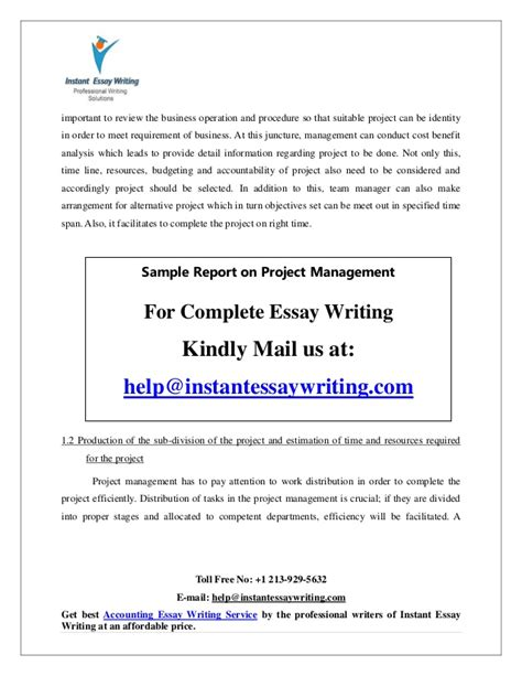 Instant Essay Writer by Sle On Project Management By Instant Essay Writing