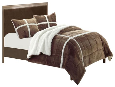 sherpa lined comforter chloe plush microsuede sherpa lined brown king 3 piece