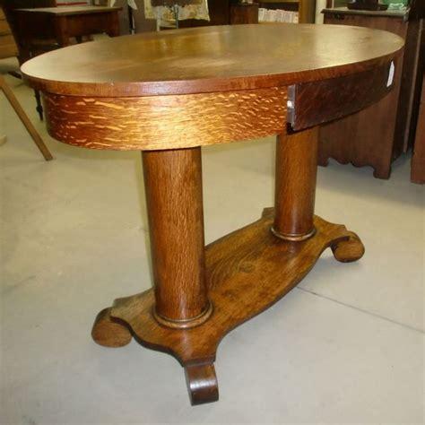 antique oak library table desk pedestal empire