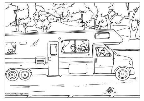 print   colouring  page   camper van