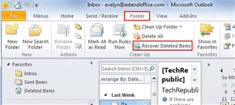 outlook 2010 tutorial recovering deleted items microsoft 2 go to the quot clean up quot group and you can find the