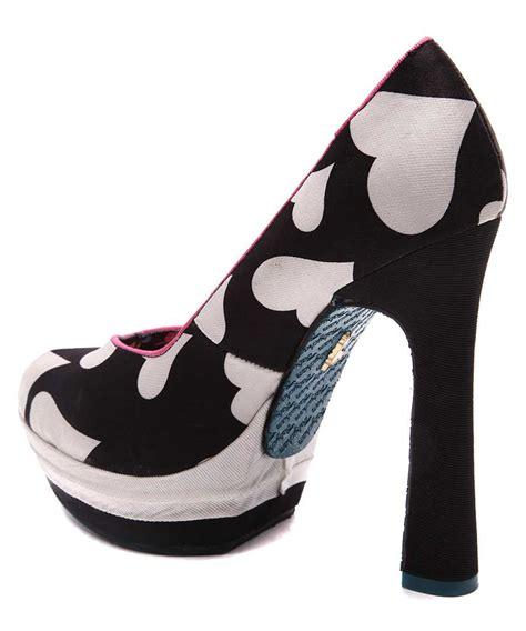 heart patterned heels babycham vanilla heart print heels in monochrome designer