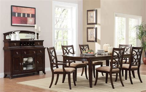 8 Piece Dining Room Set | homelegance keegan 8 piece dining room set in brown cherry