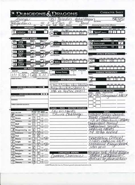 dd 3 5 template list exclusive preview d d fourth edition character sheet wired