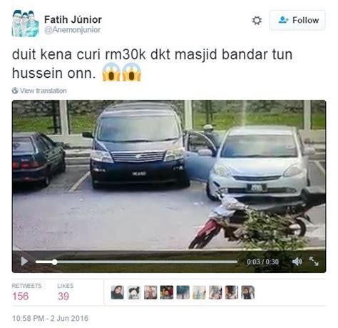 Cermin Tingkap Kereta Myvi lelaki berkopiah pecah cermin kereta curi rm30k