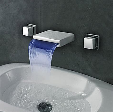 Tall Kitchen Faucets Widespread Wall Mount Waterfall 3 Colors Led Bathroom Sink