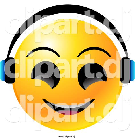 royalty free stock emoticon designs of headphones vector clipart of a yellow emoticon face smiling and