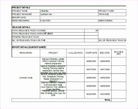 Innovation Report Template 6 Project Status Report Template Excel Filetype