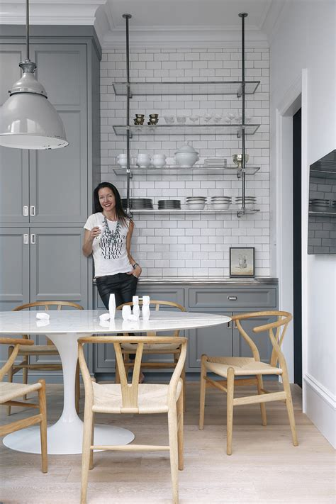 gray white kitchen open shelving glass chrome marble wishbone chairs home