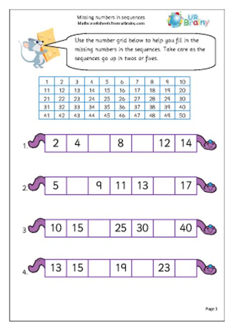 number pattern games year 1 missing numbers in a sequence counting maths worksheets