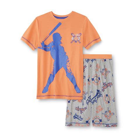 pajama shorts for boys joe boxer boy s pajama shirt shorts baseball