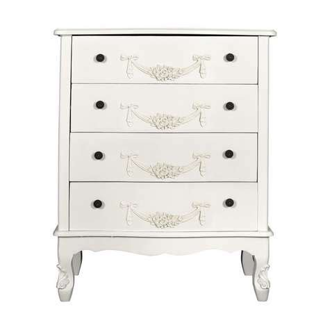 toulouse white wide 4 drawer chest toulouse white wide 4 drawer chest dunelm