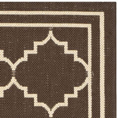 Safavieh Courtyard Chocolate Cream Indoor Outdoor Rug Outdoor Rugs