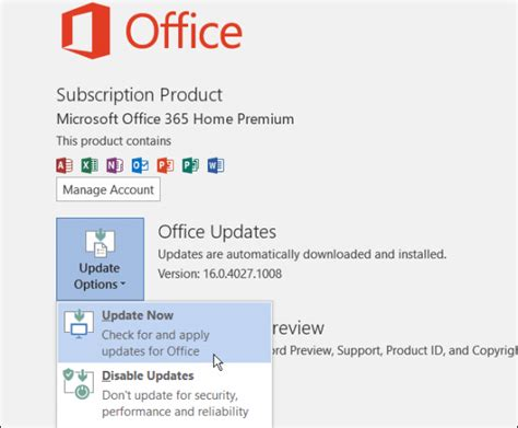 Update Office by Microsoft Updates Office 2016 Preview For Windows