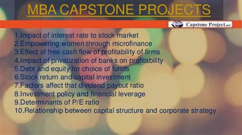 Mba Capstone Project Ideas by Top Capstone Project Ideas