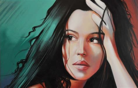 monica bellucci painting wallpaper face model hair portrait actress lips