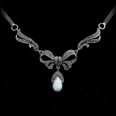 sterling silver marcasite and opal necklace by bloom