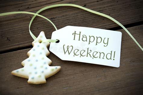 happy weekend christmas label stock image image