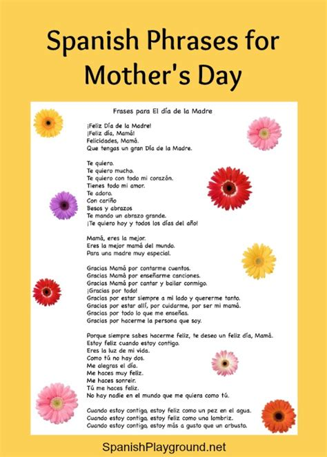 spanish mothers day poems spanish phrases for mothers day spanish playground