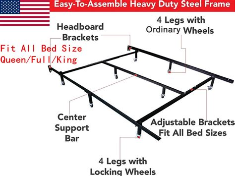 California King Bed Frame Dimensions Us Metal Bed Frame Adjustable California King Size Center Support Platform Ebay
