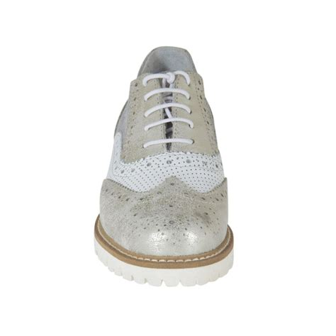 womens silver oxford shoes s laced oxford shoe in white pierced leather and