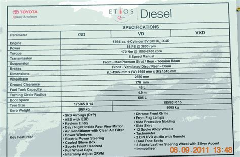 Toyota Specs Technical Specifications Of The Toyota Etios Sedan Diesel