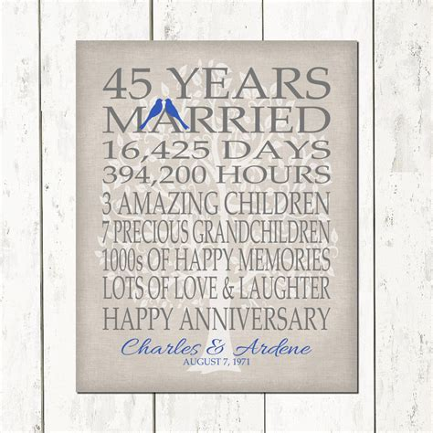 45th wedding anniversary gift for parents sapphire anniversary