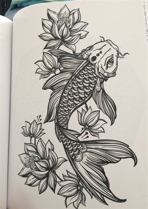tattoo two koi fish koi and lotus flowers from my coloring book tattoo